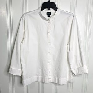 Eileen Fisher White Button Front Blouse Size Large